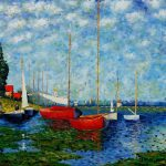 Paintings Claude Monet Shopping Red Boats