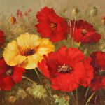 Plants Gallery Art For Sale Red High Quality Decor Flower Oil Painting