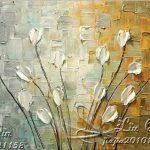 Pure Hand Painted Frame Canvas Oil Painting Art Lucky Flower