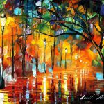 Rainy Evening Original Oil Canvas Painting Leonidafremov