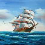 Real Handmade Boat Sailing The Morning Oil Painting