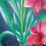 Red Amaryllis Oil Canvas Flower Painting