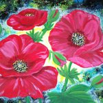 Red Flowers Paintings Poppy Floral