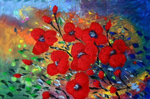 Red Flowers The Rain Painting Luiza Vizoli