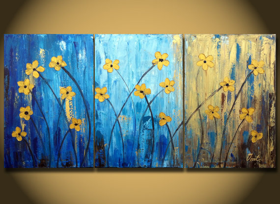 Sale Flower Large Painting Canvas Triptych Paintings Gold Original