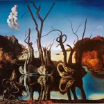 Salvador Dali Paintings Swans Reflecting Elephants