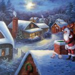 Santa The Roof Christmas Snowscape Oil Painting