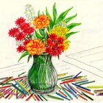 Sketches Flowers Nic Card Creations July Buquet Vase Round