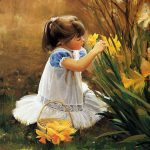 Small Girl Flucking Flowers Painting Sketches