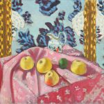 Still Life Apples Pink Tablecloth