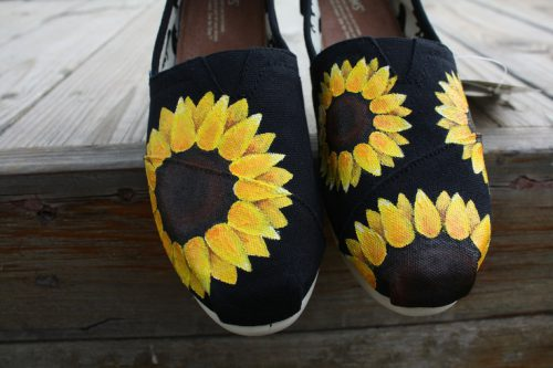 Sunflowers Original Custom Acrylic Painting For Toms Canvas Shoes