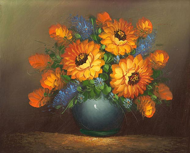 Sunny Oil Painting Bouquet Chrysanthemums