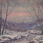 Sunset Winter Painting Fine Art Print