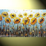 Textured Painting Yellow Sunflowers Floral Modern Flower