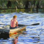 The River Oil Canvas Figures Painting Boat Blue Water