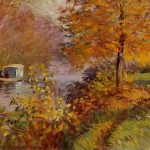 The Studio Boat And Monet Painting Poplars Epte