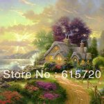 Thomas Kinkade Original Landscape Oil Painting Cottages New Day