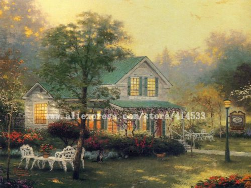 Thomas Kinkade Original Oil Painting The Village Inn Print Canvas