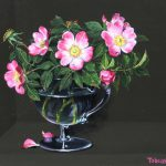 Tobias Harrison Dog Roses Custard Glass