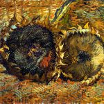 Two Cut Sunflowers Oil Canvas
