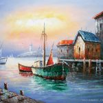 Unframed Boat Painting Hot Selling Oilpainting Yayuan