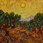 Van Gogh Painting Olive Trees Yellow Sky And Sun