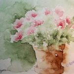 Watercolor Painting Pink Flowers