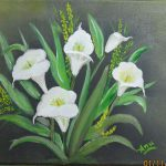 White Anthurium Flowers Oil Painting Canvas