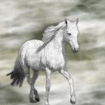White Horse Watercolor Painting Fine Art