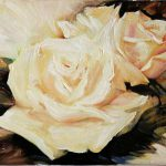 White Roses Floral Original Oil Painting Canvas