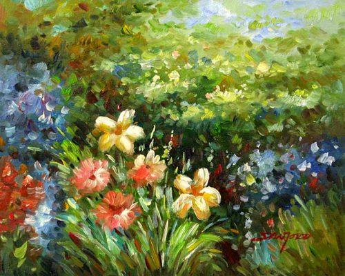 Wild Flower Garden Oil Paintings Canvas