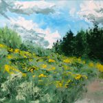 Yellow Flower Field Palette Knife Oil Painting Northern California