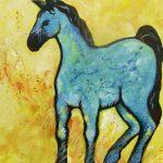 Abstract Blue Horse Painting Carol Suzanne
