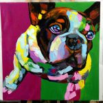 Abstract Dog Portrait Palette Knife Textured Oil