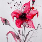 Abstract Floral Original Watercolor Painting Modern