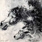 Abstract Horse Painting Black