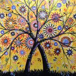 Abstract Modern Flowers Garden Art Flowering Tree Painting Amy