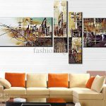 Abstract Oil Painting Canva Floating City Mirage Handmade Home Office Wall Art Decor