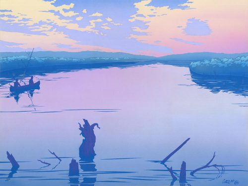 Abstract People Canoeing River Sunset Landscape Pop Art Nouveau Retro Stylized