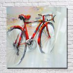 Abstract Red Bicycle Painting Home Decor Hand Painted Oil Modern Canvas