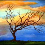 Abstract Trees Paintings Original Art Modern Landscape Oil Painting Purple