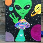 Alien Ufo Painting Canvas Psycadelicsam Etsy Saved Things