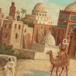 Alver Regli Orientalist Painting Middle Eastern Town Scape Ruby