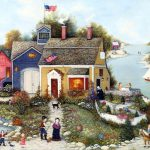 American Folk Art Linda Nelson Stocks Painting Americana Villages Country