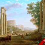 Ancient Roman Ruins Colosseum Rome Italy Landscape Painting Art Canvas Print