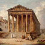Ancient Temple Maison Carree Nimes Painting Hubert Robert Oil