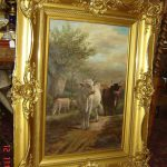 Antique American Frank English Attrb Huge Pastoral Cows Cattle Oil Painting