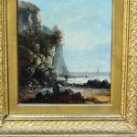 Antique French Oil Painting Rocky Coastal Scene Figures Looking