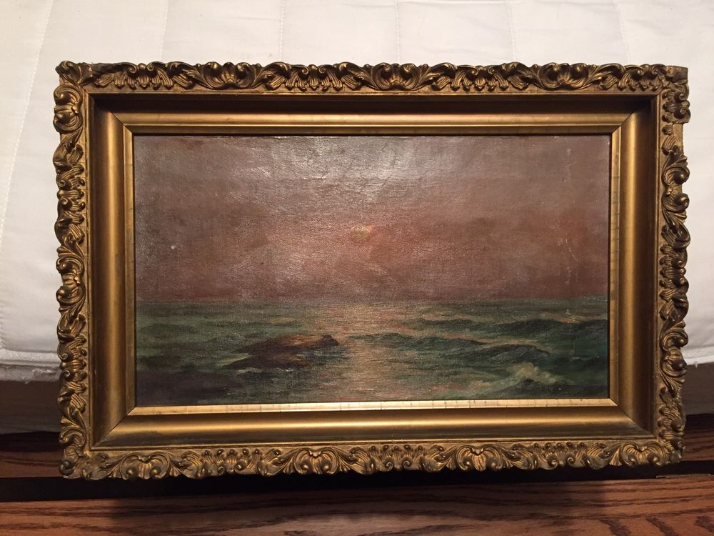 Antique Oil Painting Canvas Water Gold Guilded Frame