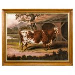 Antique Oil Painting Cow